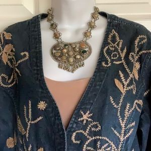 CHICO'S embroidery jean jacket